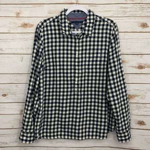 Tommy Hilfiger Navy White Plaid Button Down Shirt